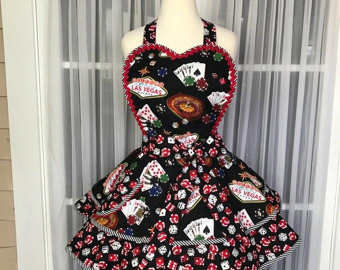 Las Vegas Apron /SewMammaSew Apron /Las Vegas Print apron /Gift Apron /Pinup Valentine apron /Women's Apron / Retro Valentine apron /Gift