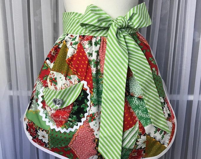 Christmas half apron SewMammaSew apron Handmade apron Gift apron Patchwork print half apron Holiday half apron