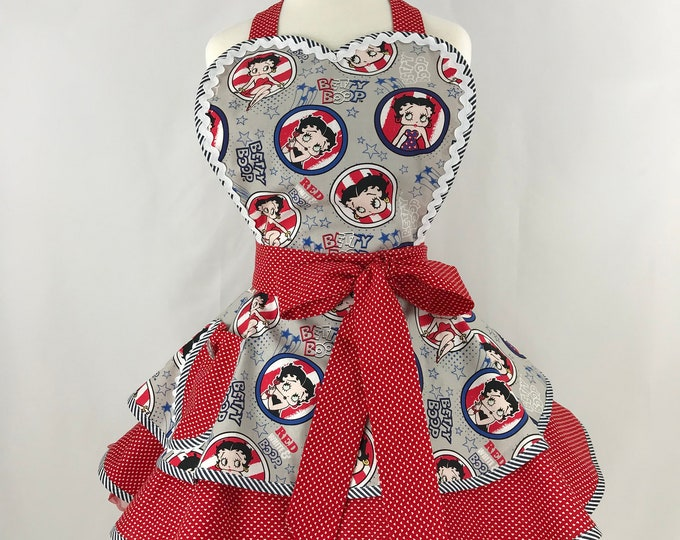 Rare Betty Boop Apron - Patriotic Print Apron- Pinup Retro Style Apron -Two Tiered Apron - Ladies Apron