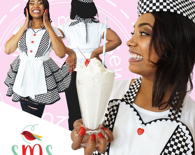 Soda Fountain Novelty Apron/Black and White Checked Apron/Novelty Apron/Apron with Hat/Women's Diner's Apron/Diner Apron with Hat/Gift Apron