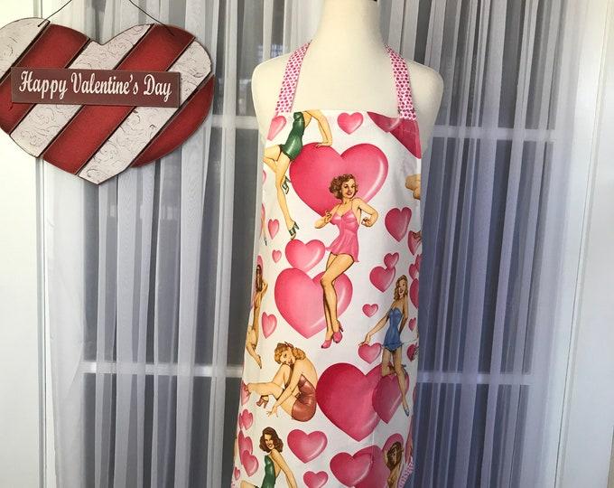 Pinup Valentine apron /Valentine chef style apron /Handmade apron /Gift Apron /Hostess Apron /SewMammaSew apron /Valentine print apron