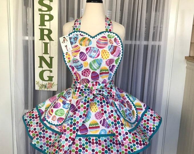FREE Matching Mask/Easter apron/Pinup Apron/Easter egg print/Retro Easter apron/Hostess Apron/SewMammaSew Apron/Gift Apron/spring apron