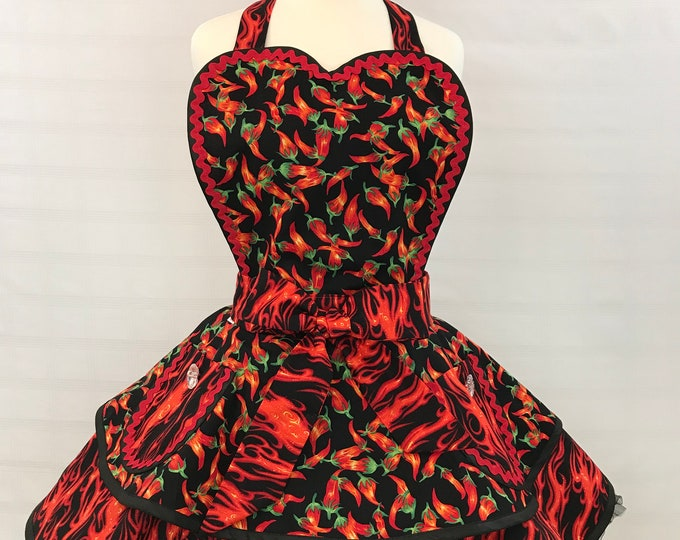 Retro pinup apron/ hot chili peppers women's apron/apron with red hot flames/pinup chili peppers/rockabilly apron/apron with matching mens