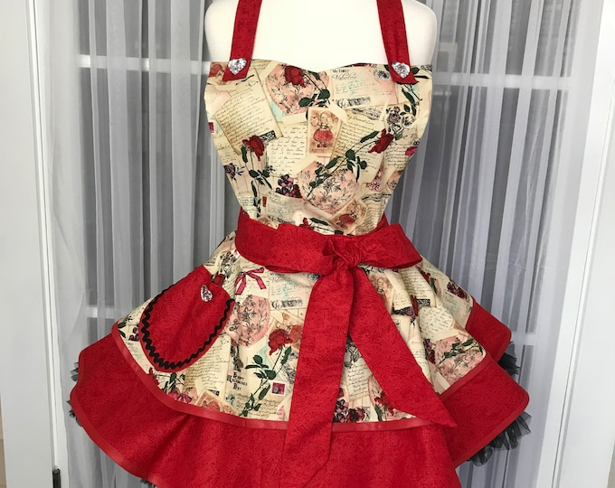 Old Fashioned Valentine Print Apron Valentine Apron SewMammaSew Apron Apron for Valentines Day Retro Apron Pinup Valentines Apron Hostess