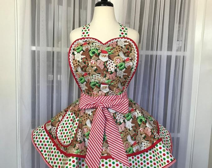 Christmas apron SewMammaSew apron Women's apron Gift apron Retro apron Pinup apron Gingerbread apron Pinup Christmas apron