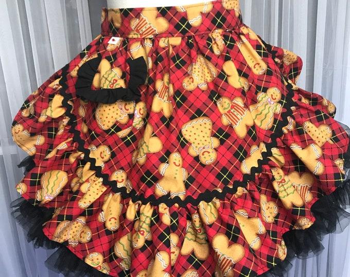 Half apron/Xmas half apron/SewMammaSew half apron/Gingerbread print half apron/Women's Apron/Vintage style half apron