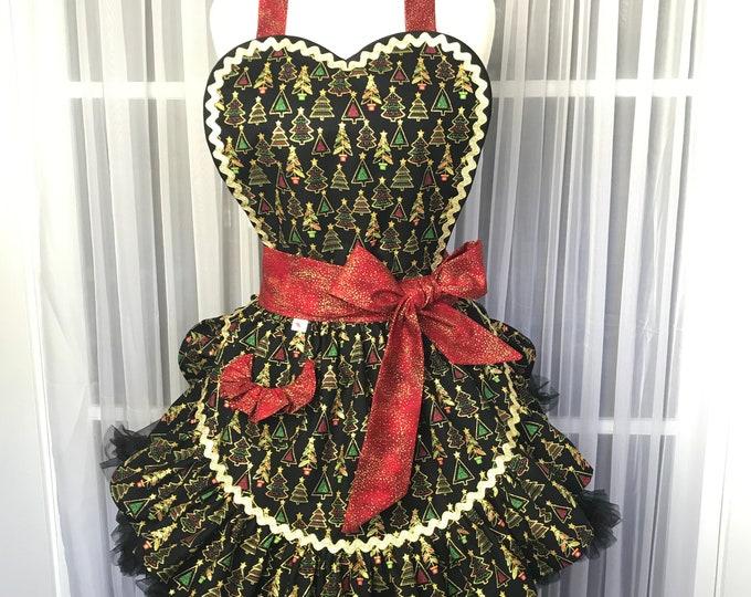 Xmas apron /Women's Apron /SewMammaSew Apron /Hostess Apron / Vintage style apron /Xmas print apron /Xmas party apron / Gift Apron