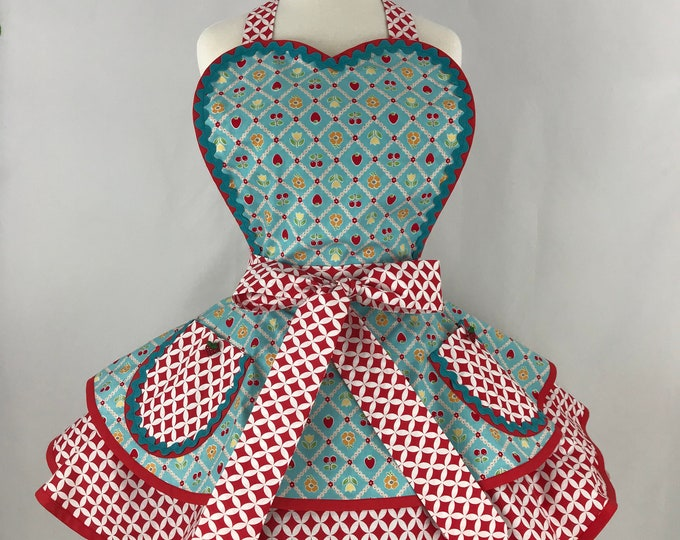 Retro Apron/Pinup Apron/Strawberries Cherries and  Flowers Apron/Vintage Style Apron/Two Tiered Apron