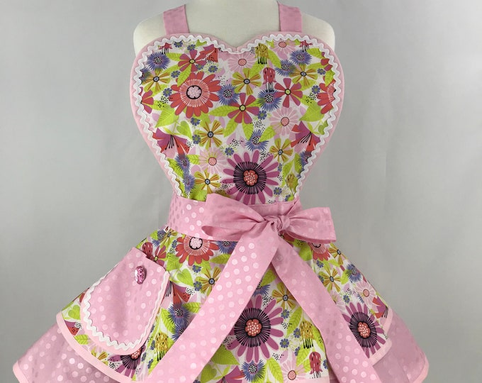 Retro Apron/Pink on Pink Apron/Pink Floral Pinup Apron/Vintage Style Apron/Pinup Apron/Pink Polka Dots and Floral Apron
