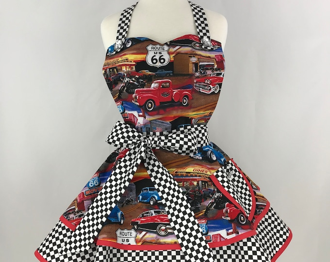 Retro Apron - Route 66 Apron - Women's Two Tiered Apron- Antique Car Print Apron - Pinup Vintage Style Apron
