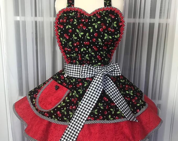 Cherries and checks apron/Pinup Apron/SewMammaSew Apron/Hostess Apron/Retro style apron/Gift Apron/Handmade kitchen apron/Apron