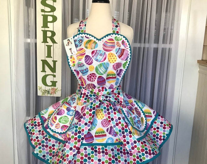 40% OFF SALE/FREE Matching Mask/Easter apron/Pinup Apron/Easter egg print/Retro Easter apron/Hostess Apron/SewMammaSew Apron/spring apron
