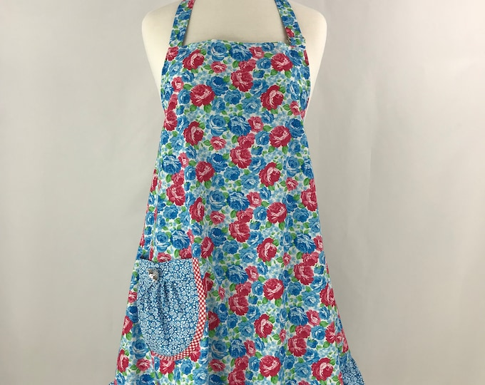 Full Apron with Ruffle/A-Line Apron/Blue Red and White Full Apron/Retro Full Apron/Floral Full Apron with Ruffle