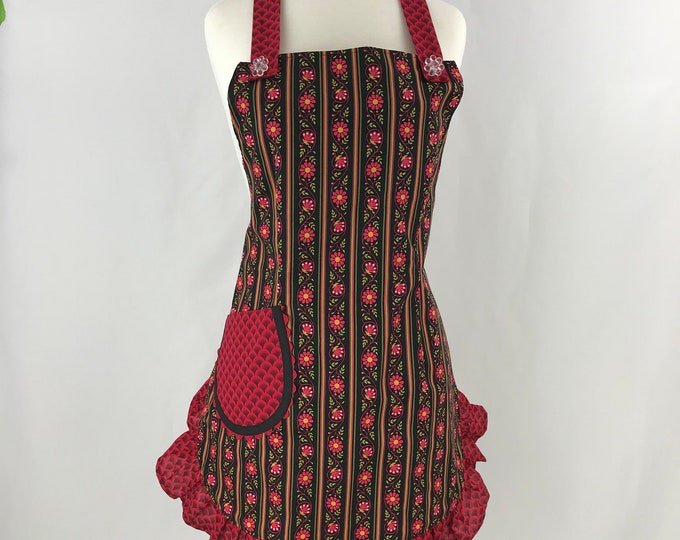 Retro Full Fitted Apron/Full FittedApron/Women's Full Apron/Full Apron with Ruffle/Fitted Full Length Apron/Black and Red Fitted Apron