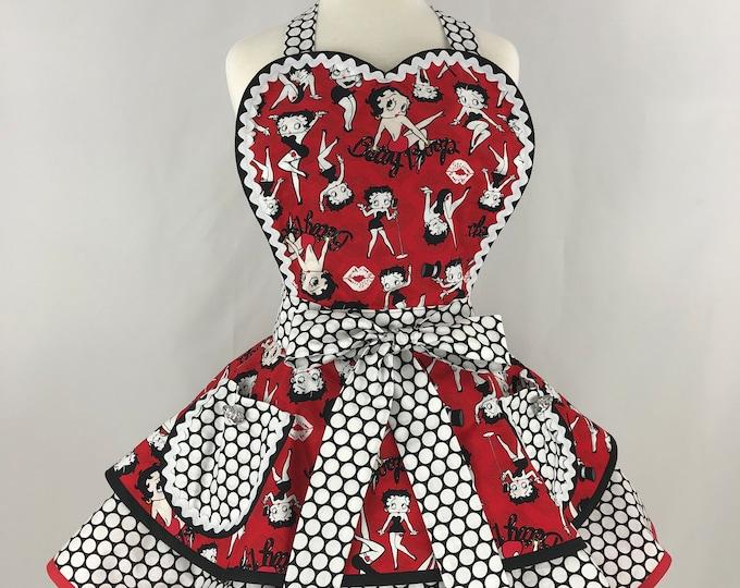 Retro Apron/Betty Boop Retro Apron/Rare Betty Boop Apron/Women's Apron/Betty Boop and Polka Dots Apron/Pinup Apron