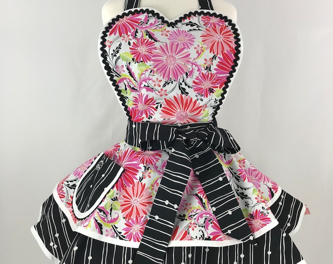 Retro Apron/Fruit and Floral Apron/ Pink Red and Black Apron/Women's Apron/Pinup Apron
