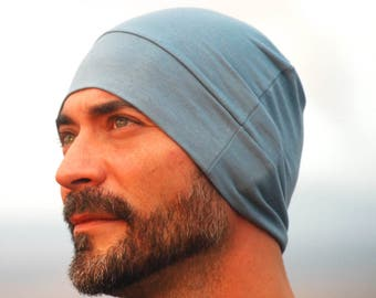 Men's Beanie Hat - Unisex - Stone Blue Organic Cotton Soy Spandex Jersey - Eco Friendly - Several Colors
