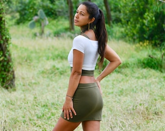 Mini Skirt - Eco Friendly Organic Cotton Soy Spandex Jersey - Olive Green - Available in Several Colors - Booty Skirt