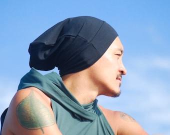 Unisex Slouchy Hat - Men's Hat - Black - Organic Cotton Soy Spandex Jersey - Eco Friendly - Several Colors