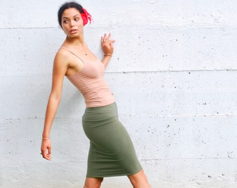 Pencil Skirt - Tube Skirt - Olive Green Organic Cotton Soy Spandex French Terry - Eco Friendly - Organic Clothing
