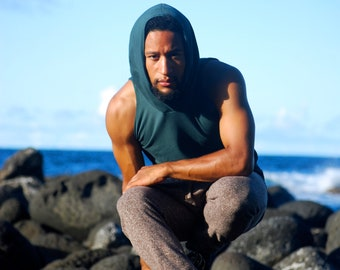 Men's Sleeveless Hoodie - Spruce Green - Organic Clothing - Several Colors Available