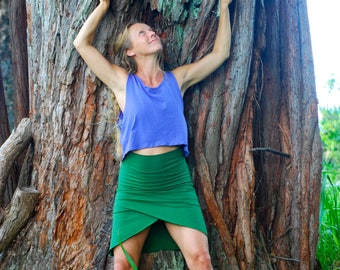 Organic Faux Wrap Skirt with Built in Shorts - Skort - Short Skirt - Eco Friendly - Organic Clothing