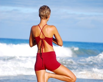 Halter Top - Cross Back Ties - Ruby Red - Yoga Top - Festival Fashion - Ecstatic Dance - Hippie - Organic Clothing