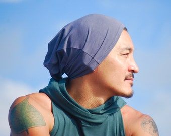 Unisex Slouchy Hat - Men's Hat - Gray - Organic Cotton Soy Spandex Jersey - Eco Friendly - Several Colors