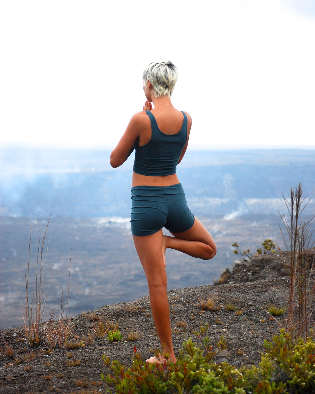 Women's Yoga Shorts Spruce Green Jersey Eco Friendly