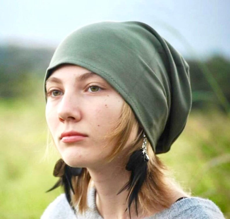 Unisex Slouchy Hat  Olive Green Organic Cotton Soy Spandex image 0