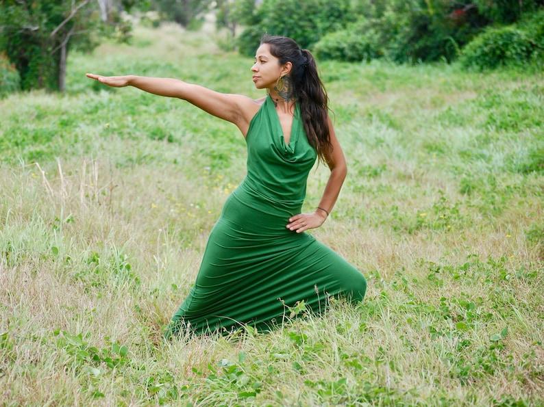 Backless Maxi Dress  Draped Halter  Full Length Dress  image 0