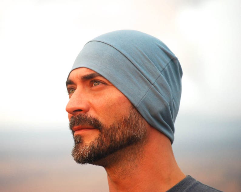 Men's Beanie Hat  Unisex  Stone Blue Organic Cotton Soy image 0