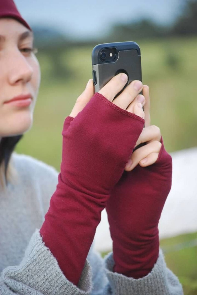 Fingerless Gloves  Red  Eco Friendly  Organic Clothing  image 0
