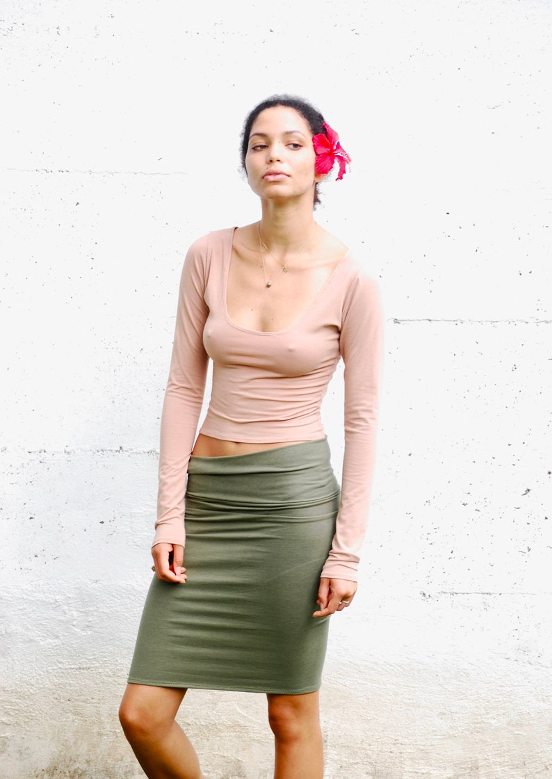 Long Sleeve Scoop Neck Cropped Top  Organic Clothing  Eco image 0