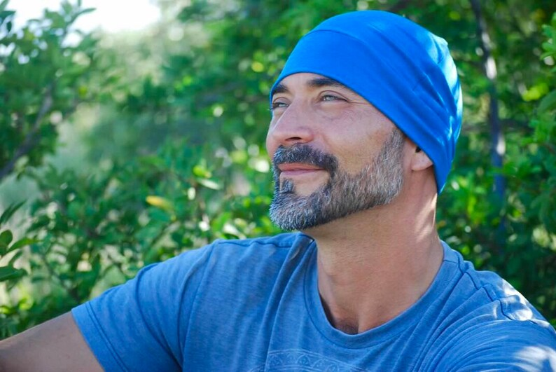 Men's Beanie Hat  Unisex  New Blue Organic Cotton Soy image 0