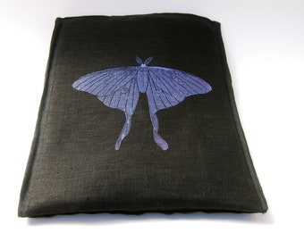 SALE - Tablet Case - iPad Sleeve - Padded with Pocket - Organic Black Linen - Luna Moth