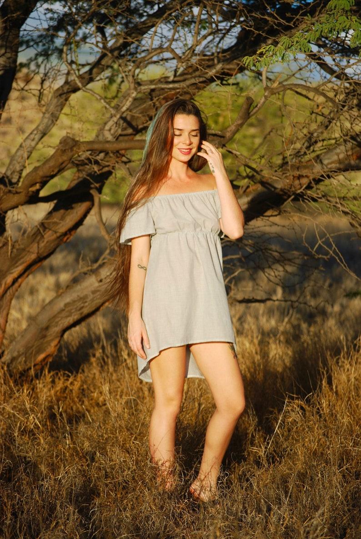 Off Shoulder Mini Dress  Organic Cotton Voile  Super Light  image 0