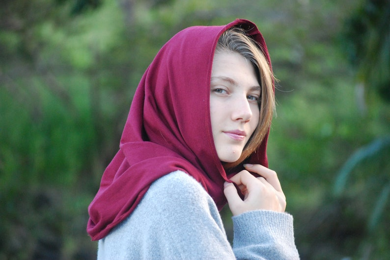 Cowl Hood Scarf in Red Wine  Organic Cotton Soy Spandex image 0