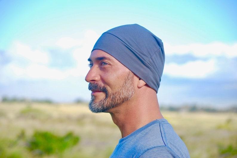 Men's Beanie Hat  Unisex  Gray  Organic Cotton Soy image 0