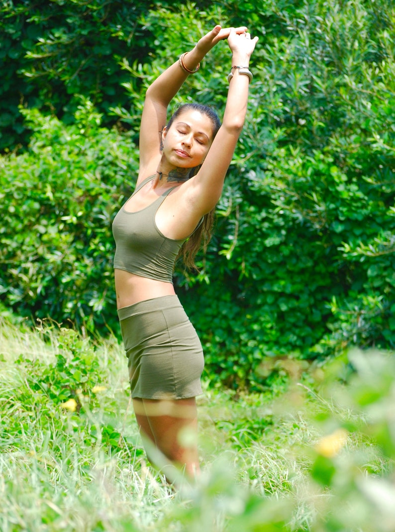 Cropped Yoga Layering Tank Top for Women  Olive Green  Eco image 0