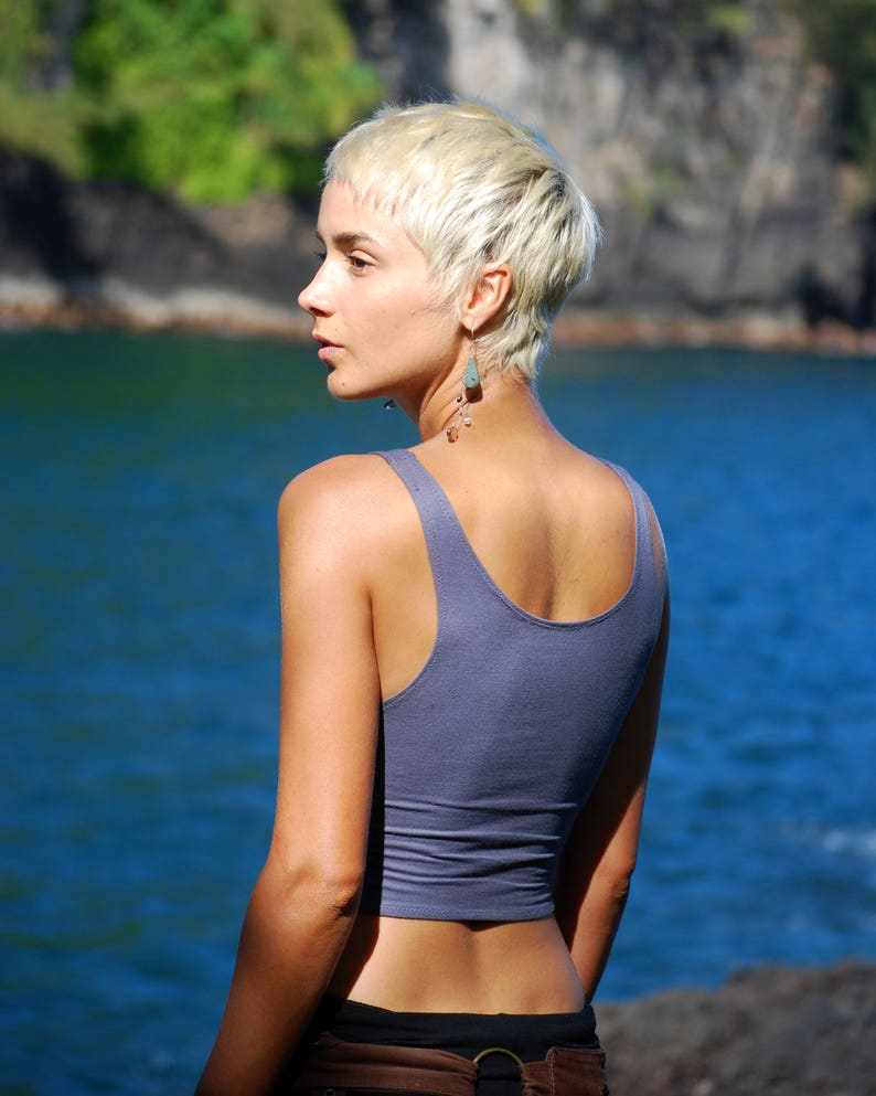 Cropped Yoga Layering Tank Top for Women  Gray  Eco Friendly image 0