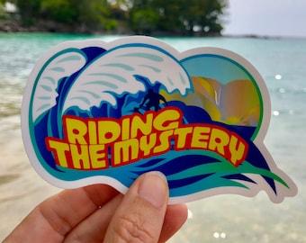 Riding the Mystery Vinyl Sticker - Surfing - Surfer - Ocean - Waves - Hawaii - Laptop Decal - Water Bottle Sticker