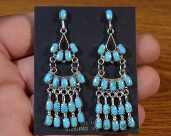 "Long 2-3/4"" Turquoise Chandelier Zuni Earrings by Claudine Penketewa Native American"