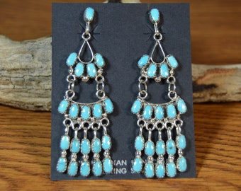 "Long 2-3/4"" Turquoise Chandelier Zuni Earrings by Claudine Penketewa Sleeping Beauty"