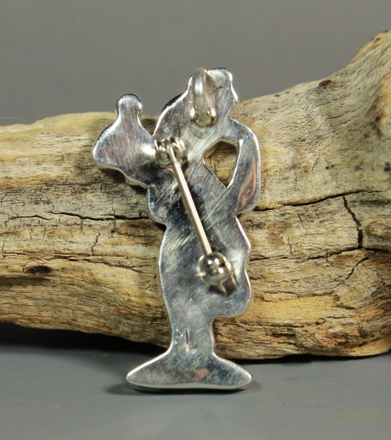 Zuni GOOFY Pin Pendant Paula Leekity inlay Zunito… - image 3
