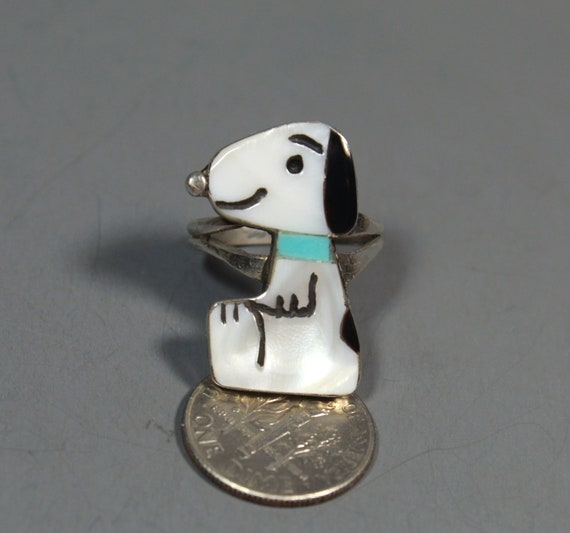 Zuni Snoopy Ring size 6-1/2 MOP Turquoise Shenel … - image 6