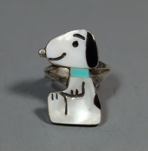 Zuni Snoopy Ring size 6-1/2 MOP Turquoise Shenel C