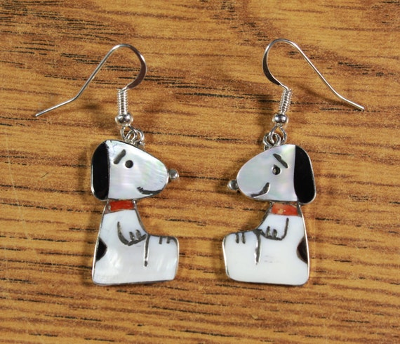Snoopy EARRINGS inlay MOP Red Coral Zuni Artist Sh