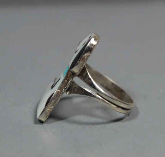 Zuni Snoopy Ring size 6-1/2 MOP Turquoise Shenel … - image 4