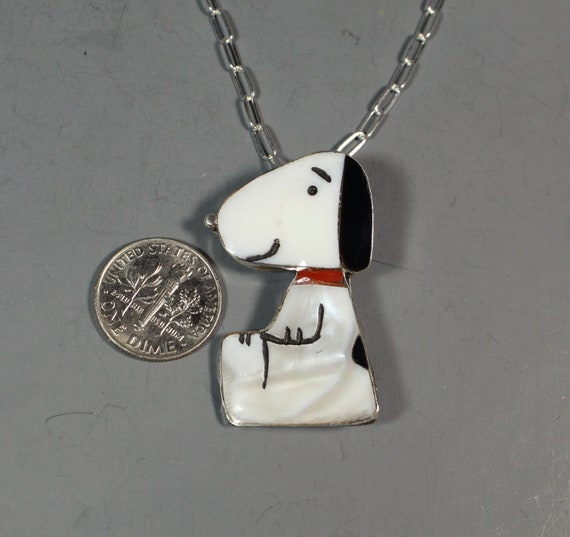 Snoopy Pendant Pin inlay Coral Zuni Artist Shenel